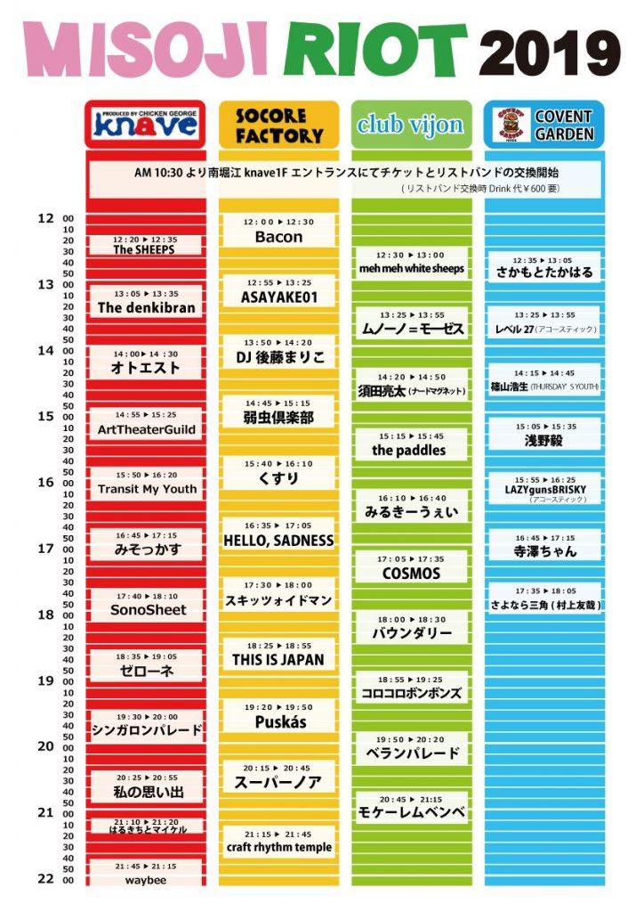 MISOJI RIOT 2019 タイムテーブル